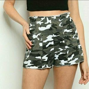 Camouflage Raw Hem Jean Short